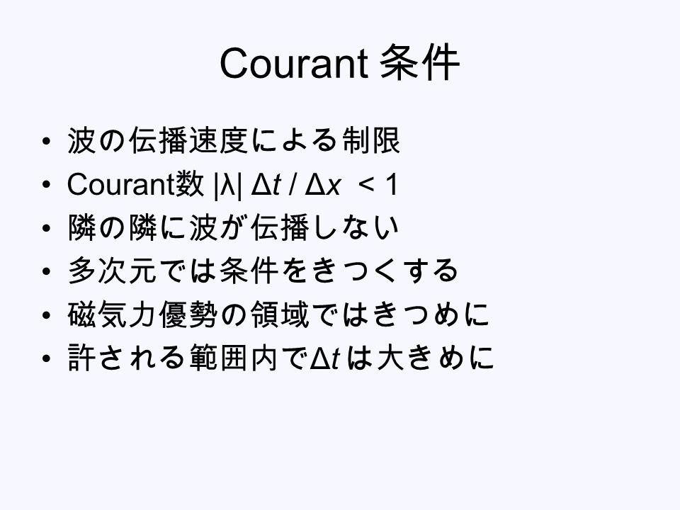 Courant 条件 波の伝播速度による制限 Courant数 |λ| Δt / Δx < 1 隣の隣に波が伝播しない