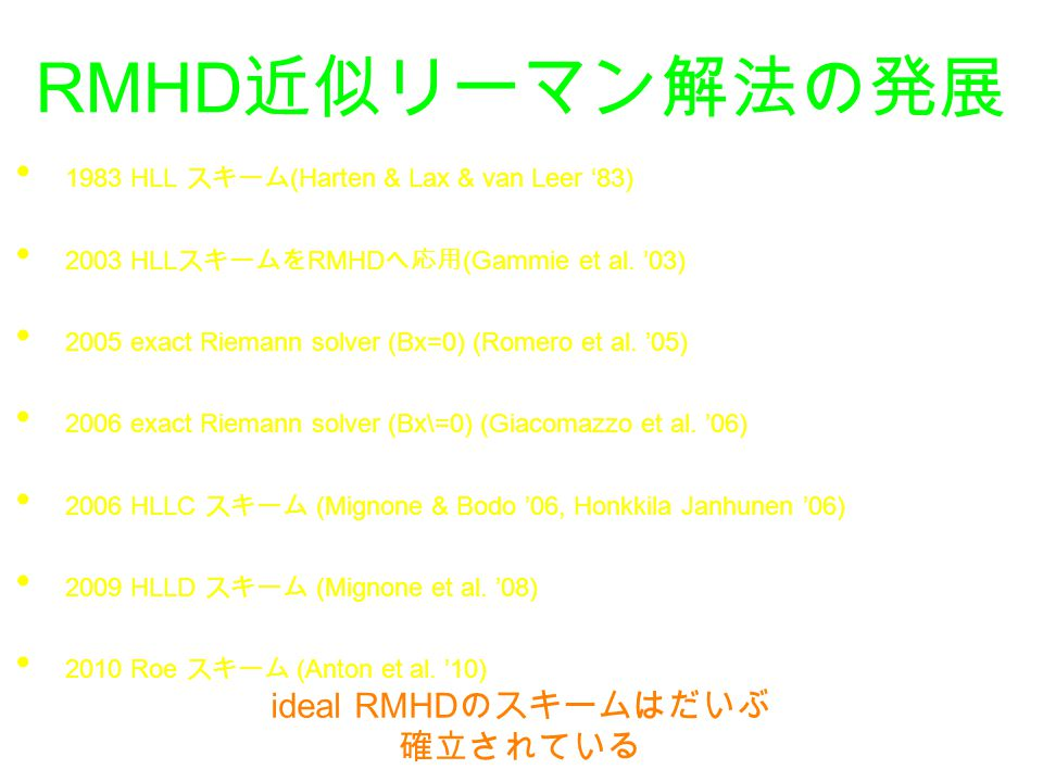 ideal RMHDのスキームはだいぶ確立されている