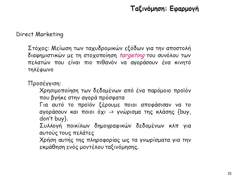 Ταξινόμηση: Εφαρμογή Direct Marketing