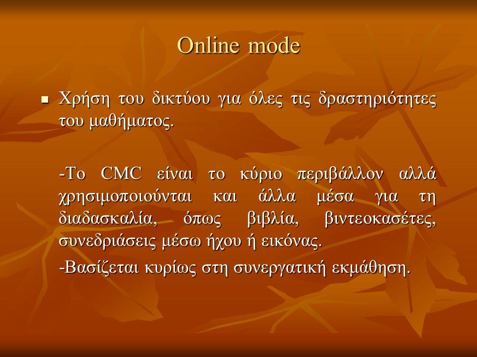Online mode Xρήση του δικτύου για όλες τις δραστηριότητες του μαθήματος.