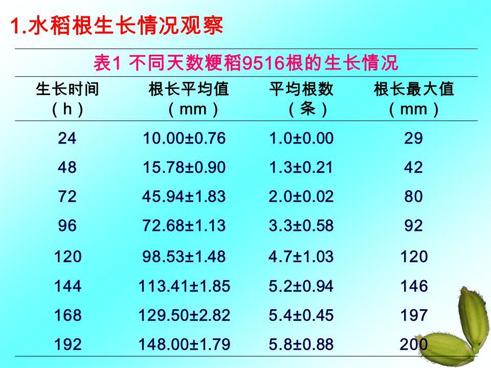 1.水稻根生长情况观察 表1 不同天数粳稻9516根的生长情况 生长时间 (h) 根长平均值(mm) 平均根数(条) 根长最大值 (mm)