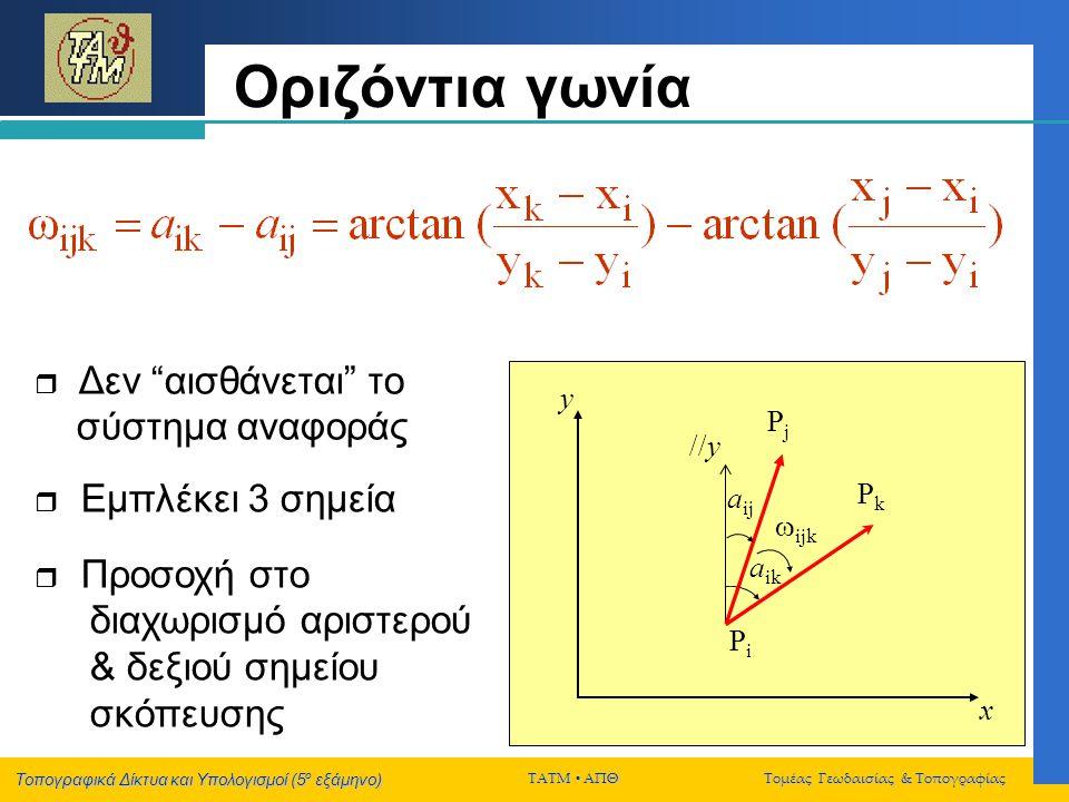 Οριζόντια γωνία y Pj //y Pk aij ijk aik Pi x