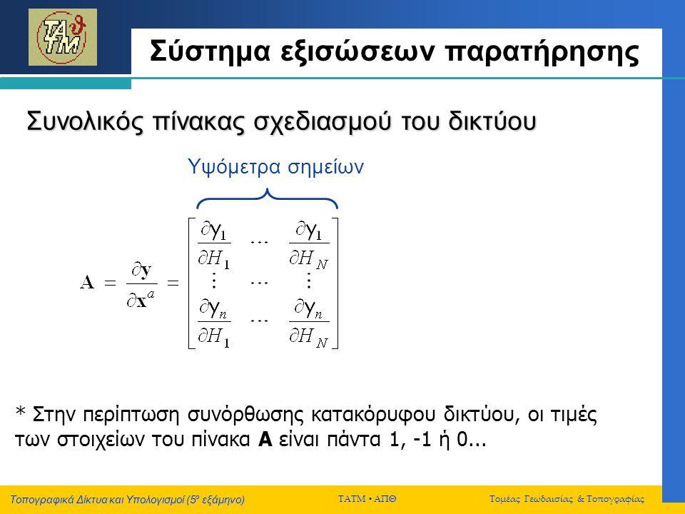 Σύστημα εξισώσεων παρατήρησης