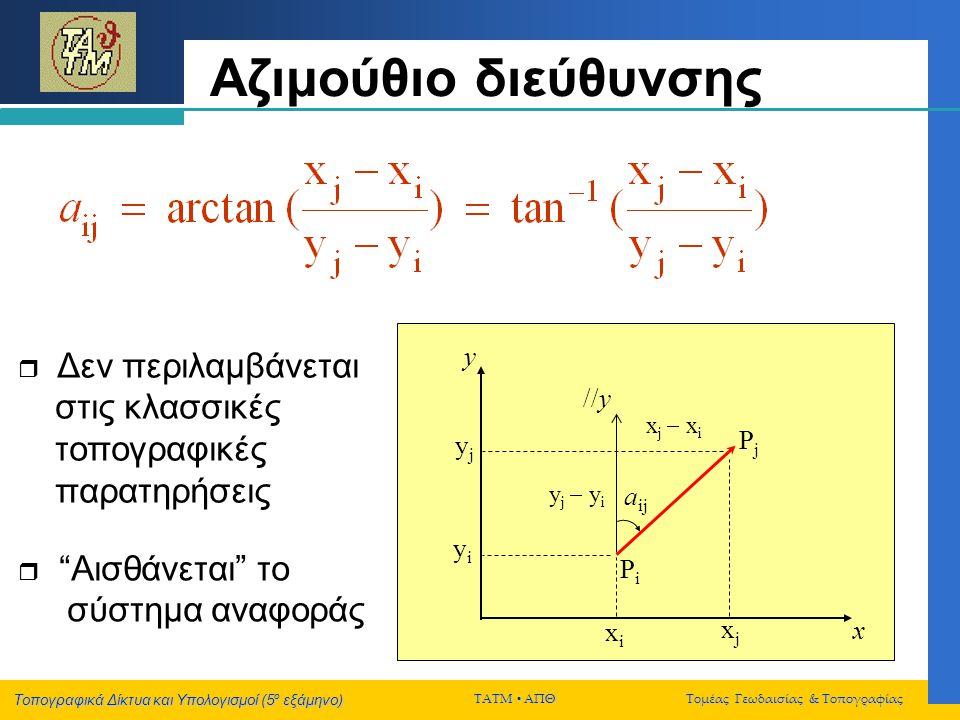 Αζιμούθιο διεύθυνσης y //y Pj yj aij yi Pi xi xj x