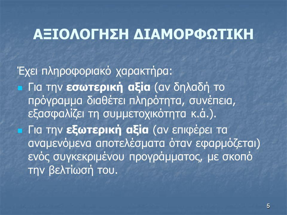 ΑΞΙΟΛΟΓΗΣΗ ΔΙΑΜΟΡΦΩΤΙΚΗ