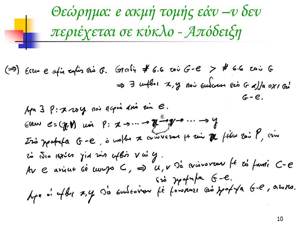 Θεώρημα: e ακμή τομής εάν –ν δεν περιέχεται σε κύκλο - Απόδειξη