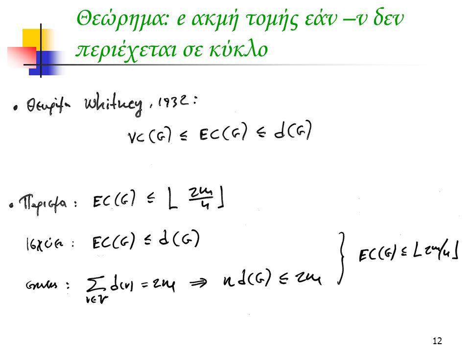 Θεώρημα: e ακμή τομής εάν –ν δεν περιέχεται σε κύκλο