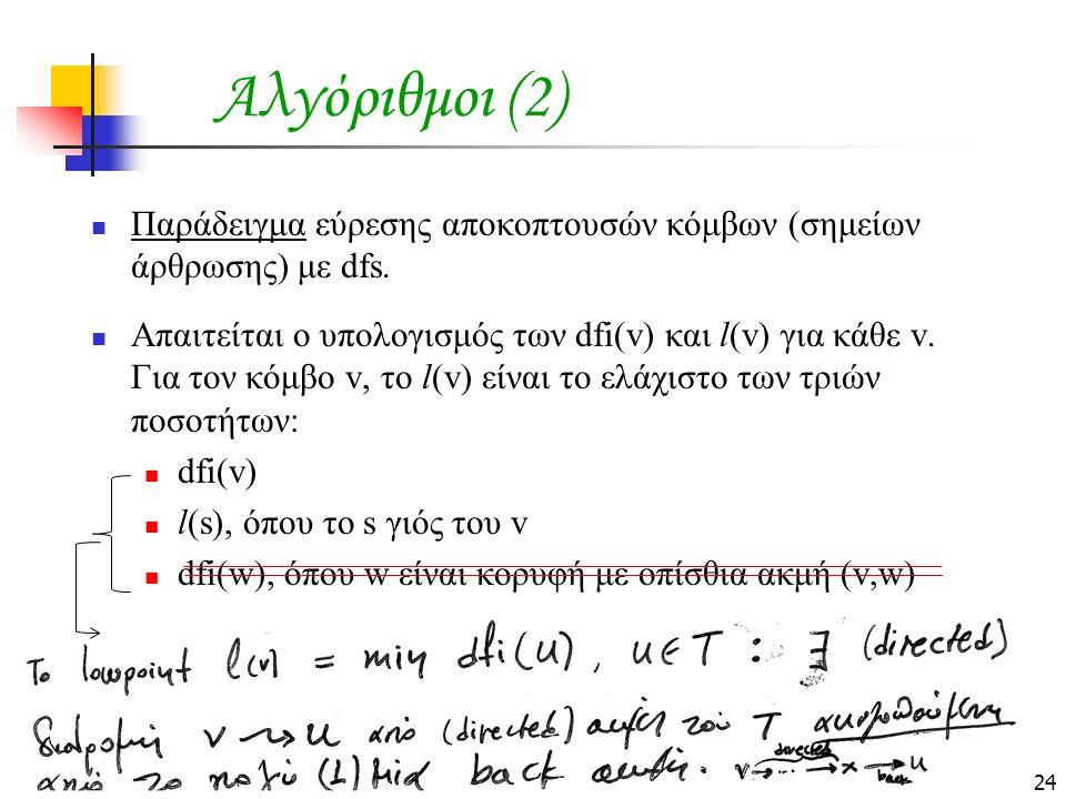 Αλγόριθμοι (2) Παράδειγμα εύρεσης αποκοπτουσών κόμβων (σημείων άρθρωσης) με dfs.