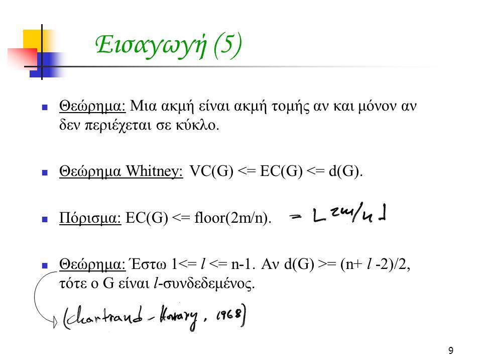 Εισαγωγή (5) Θεώρημα: Μια ακμή είναι ακμή τομής αν και μόνον αν δεν περιέχεται σε κύκλο. Θεώρημα Whitney: VC(G) <= EC(G) <= d(G).