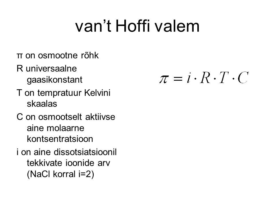 van't Hoffi valem π on osmootne rõhk R universaalne gaasikonstant