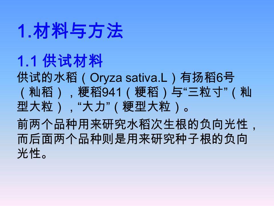 1.材料与方法 1.1 供试材料 供试的水稻(Oryza sativa.L)有扬稻6号(籼稻),粳稻941(粳稻)与 三粒寸 (籼型大粒), 大力 (粳型大粒)。 前两个品种用来研究水稻次生根的负向光性,而后面两个品种则是用来研究种子根的负向光性。