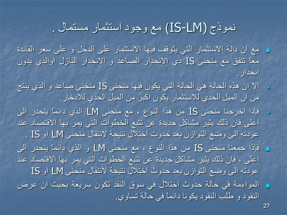 نموذج IS-LM)) مع وجود استثمار مستمال .