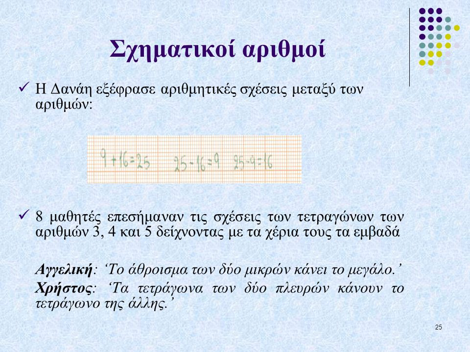 Σχηματικοί αριθμοί Η Δανάη εξέφρασε αριθμητικές σχέσεις μεταξύ των αριθμών: