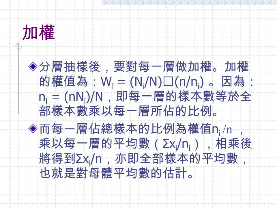 加權 分層抽樣後,要對每一層做加權。加權的權值為:Wi = (Ni/N)╳(n/ni) 。因為:ni = (nNi)/N,即每一層的樣本數等於全部樣本數乘以每一層所佔的比例。