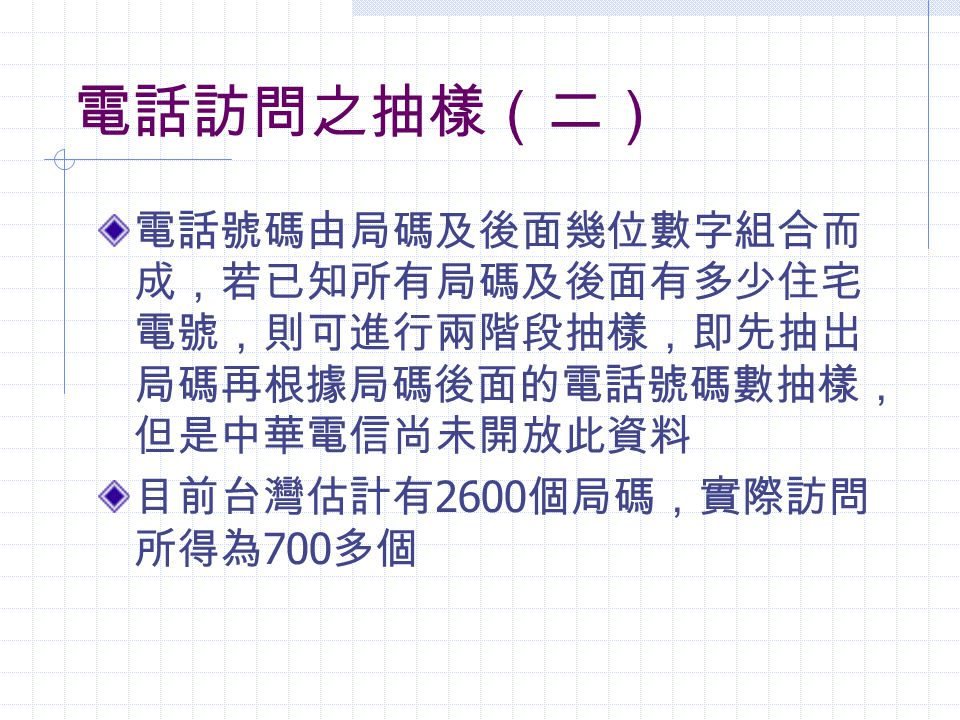 電話訪問之抽樣(二) 電話號碼由局碼及後面幾位數字組合而成,若已知所有局碼及後面有多少住宅電號,則可進行兩階段抽樣,即先抽出局碼再根據局碼後面的電話號碼數抽樣, 但是中華電信尚未開放此資料.