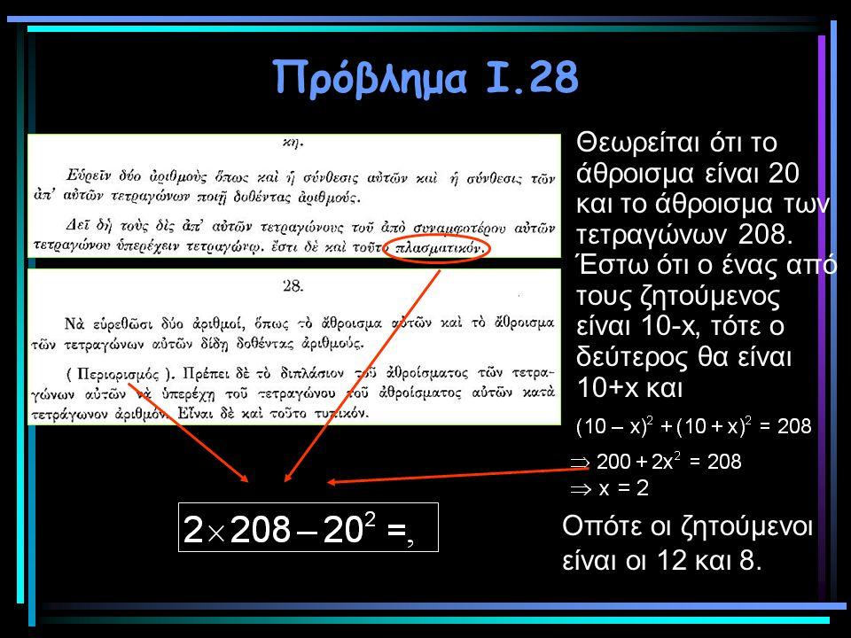 Πρόβλημα Ι.28 Θεωρείται ότι το άθροισμα είναι 20 και το άθροισμα των