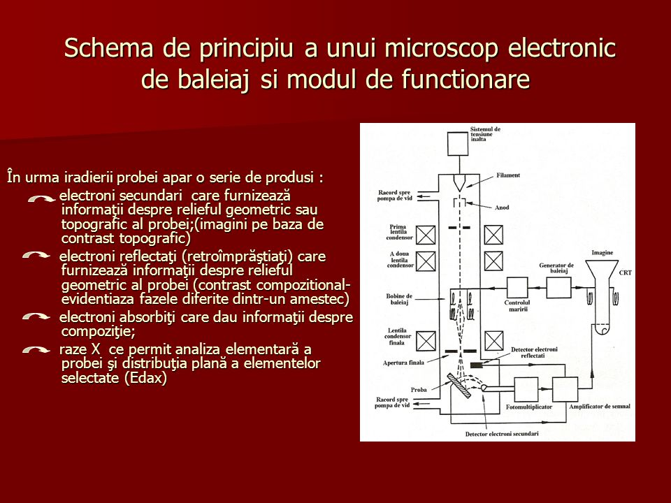 Schema de principiu a unui microscop electronic de baleiaj si modul de functionare