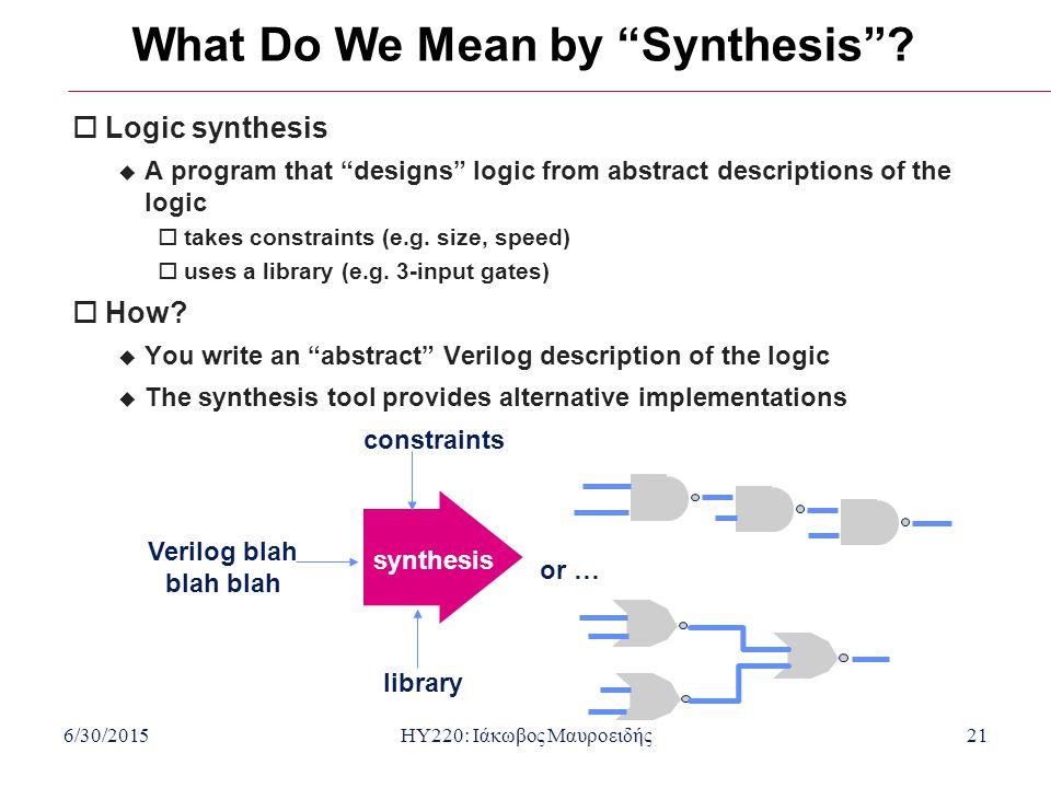 What Do We Mean by Synthesis