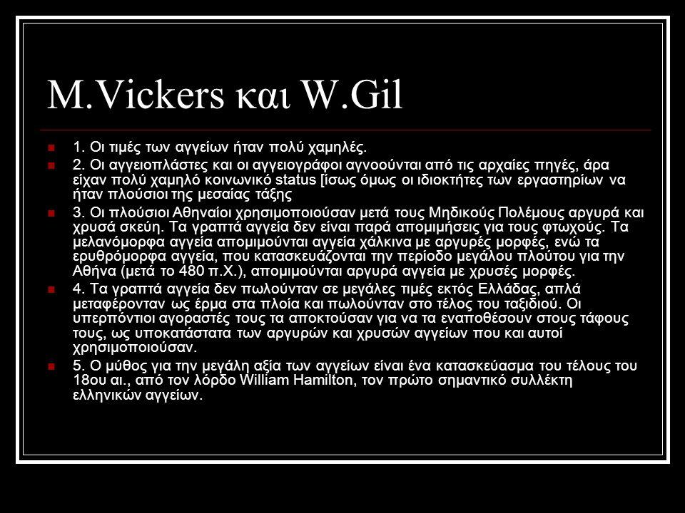 Μ.Vickers και W.Gil 1. Οι τιμές των αγγείων ήταν πoλύ χαμηλές.