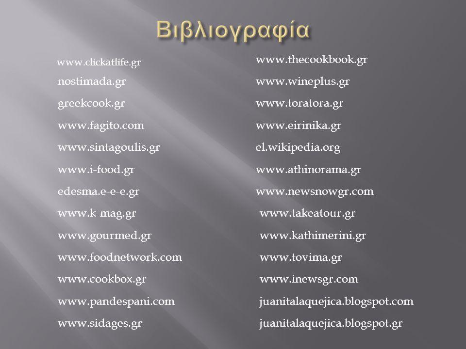 Βιβλιογραφία www.thecookbook.gr nostimada.gr www.wineplus.gr