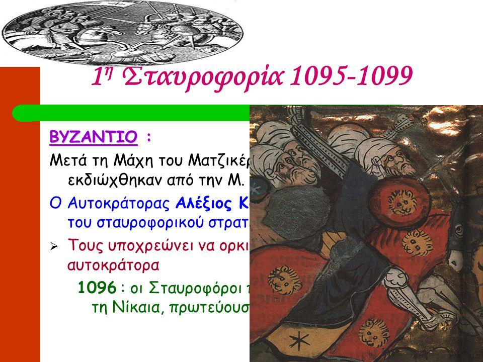 1η Σταυροφορία 1095-1099 ΒΥΖΑΝΤΙΟ :