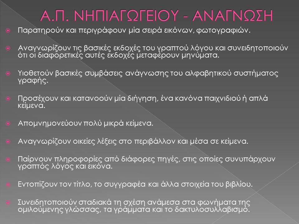 Α.Π. ΝΗΠΙΑΓΩΓΕΙΟΥ - ΑΝΑΓΝΩΣΗ
