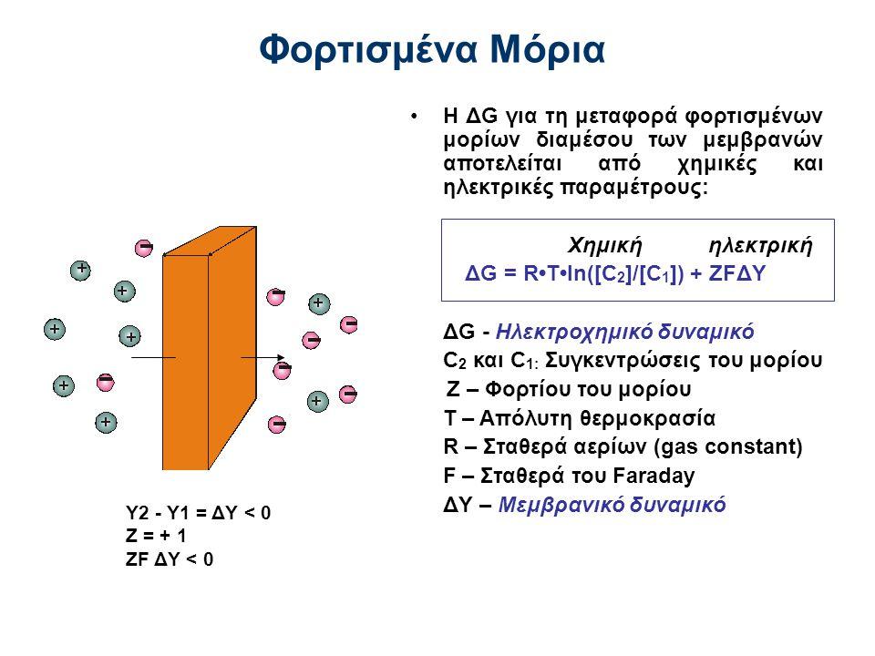 Φορτισμένα Μόρια Η ΔG για τη μεταφορά φορτισμένων μορίων διαμέσου των μεμβρανών αποτελείται από χημικές και ηλεκτρικές παραμέτρους:
