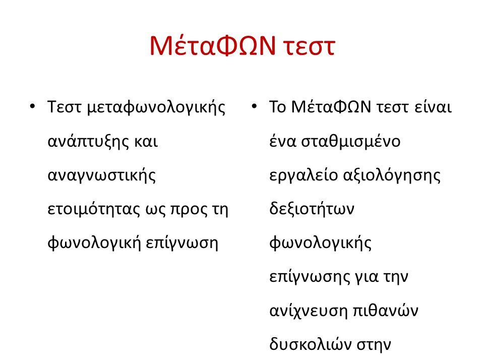 ΜέταΦΩΝ τεστ Τεστ μεταφωνολογικής ανάπτυξης και αναγνωστικής ετοιμότητας ως προς τη φωνολογική επίγνωση.