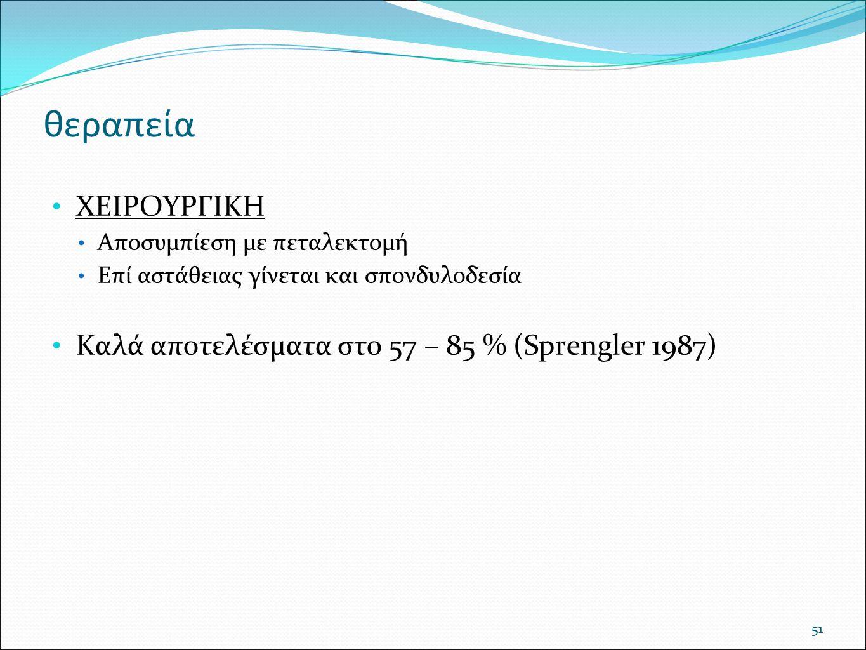 θεραπεία ΧΕΙΡΟΥΡΓΙΚΗ Καλά αποτελέσματα στο 57 – 85 % (Sprengler 1987)