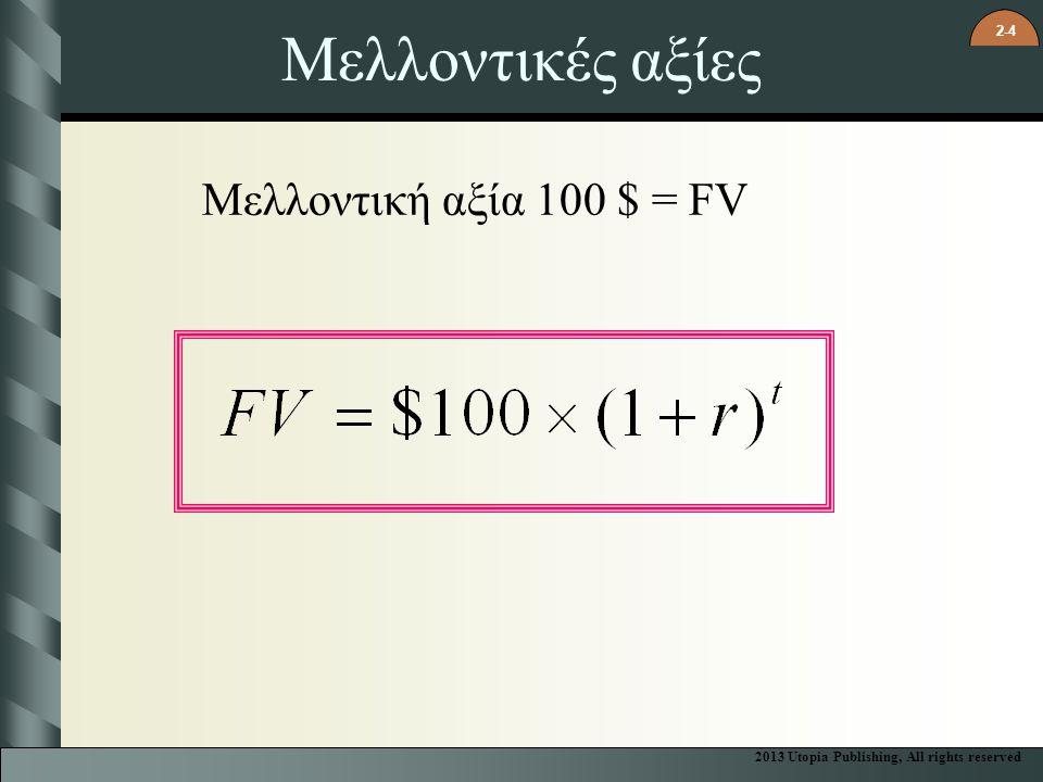 Μελλοντικές αξίες Μελλοντική αξία 100 $ = FV