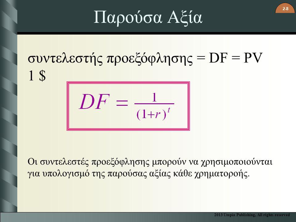 Παρούσα Αξία συντελεστής προεξόφλησης = DF = PV 1 $