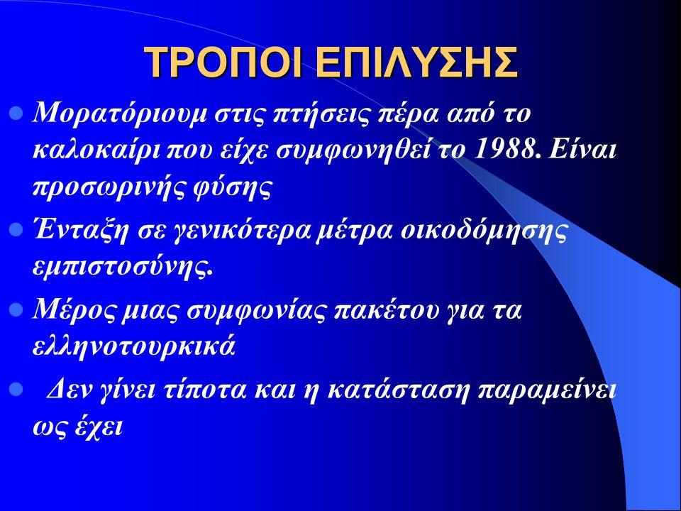 ΤΡΟΠΟΙ ΕΠΙΛΥΣΗΣ Μορατόριουμ στις πτήσεις πέρα από το καλοκαίρι που είχε συμφωνηθεί το 1988. Είναι προσωρινής φύσης.