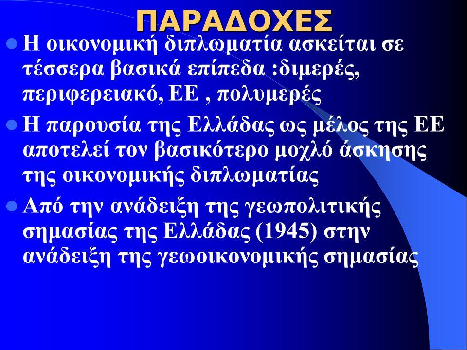 ΠΑΡΑΔΟΧΕΣ Η οικονομική διπλωματία ασκείται σε τέσσερα βασικά επίπεδα :διμερές, περιφερειακό, ΕΕ , πολυμερές.