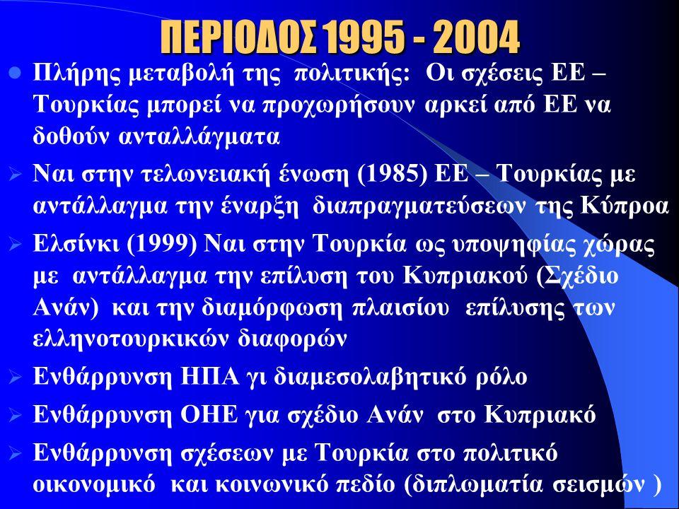 ΠΕΡΙΟΔΟΣ 1995 - 2004 Πλήρης μεταβολή της πολιτικής: Οι σχέσεις ΕΕ – Τουρκίας μπορεί να προχωρήσουν αρκεί από ΕΕ να δοθούν ανταλλάγματα.