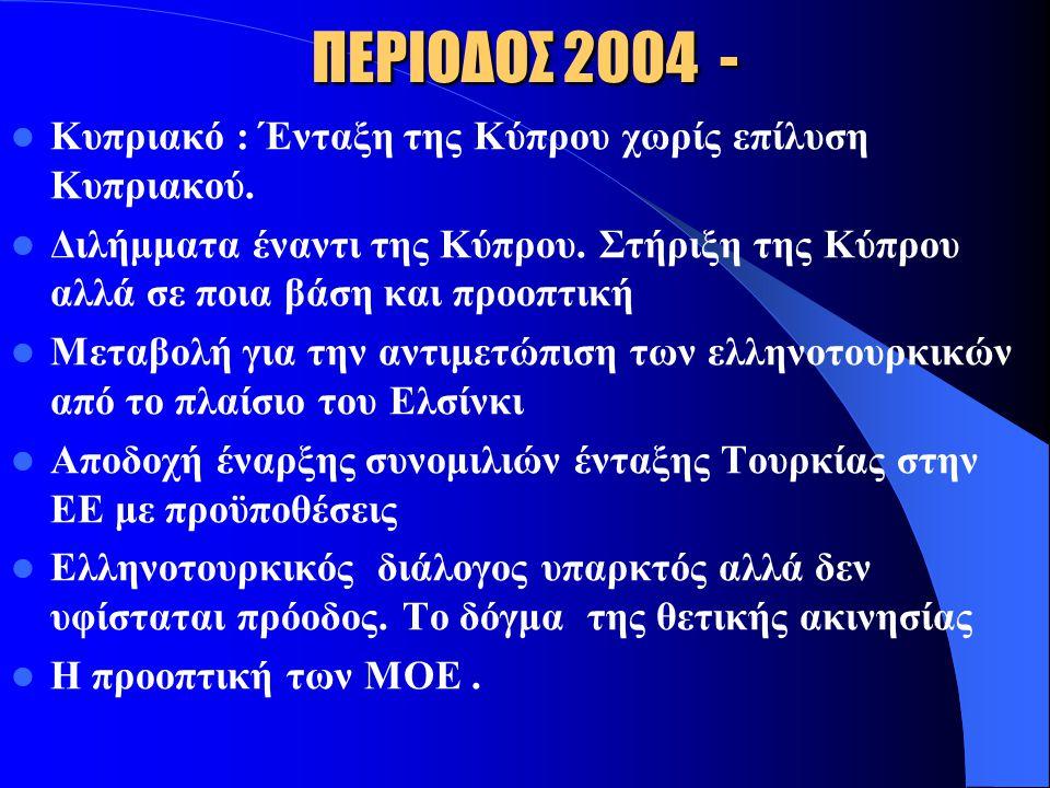 ΠΕΡΙΟΔΟΣ 2004 - Κυπριακό : Ένταξη της Κύπρου χωρίς επίλυση Κυπριακού.