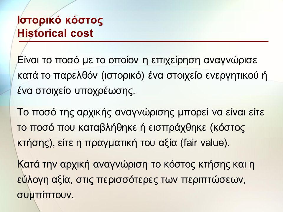 Ιστορικό κόστος Historical cost