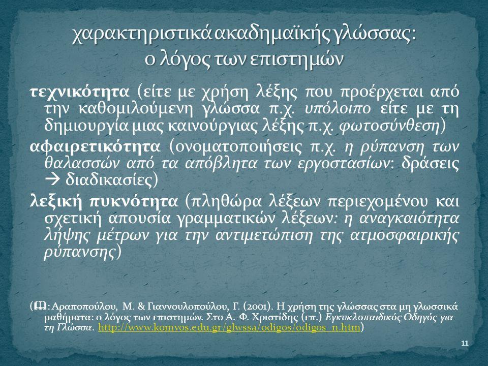 χαρακτηριστικά ακαδημαϊκής γλώσσας: ο λόγος των επιστημών