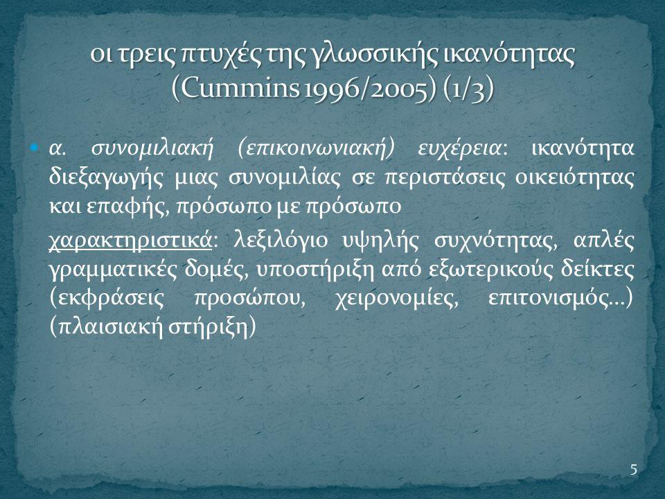 οι τρεις πτυχές της γλωσσικής ικανότητας (Cummins 1996/2005) (1/3)