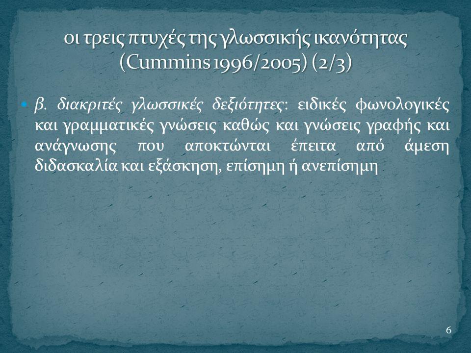οι τρεις πτυχές της γλωσσικής ικανότητας (Cummins 1996/2005) (2/3)