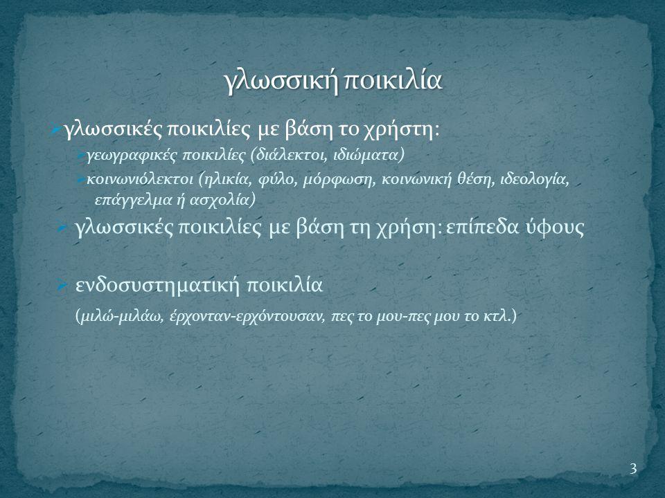 γλωσσική ποικιλία γλωσσικές ποικιλίες με βάση το χρήστη: