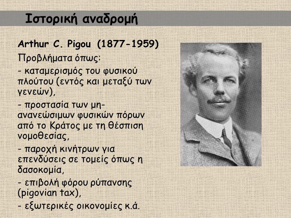 Ιστορική αναδρομή Arthur C. Pigou (1877-1959) Προβλήματα όπως: