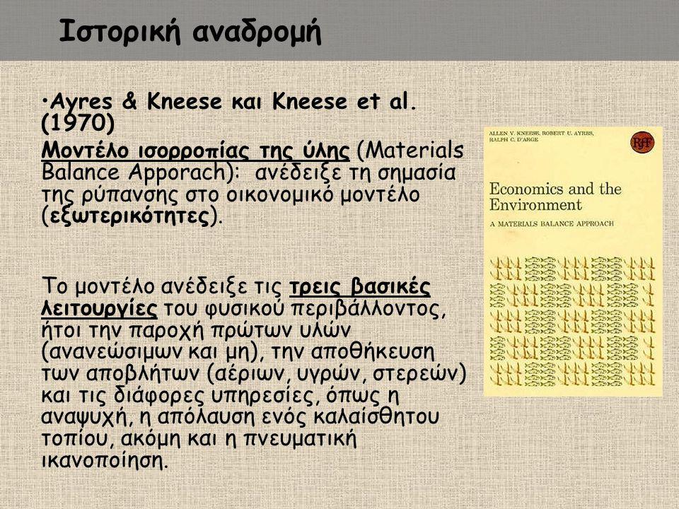 Ιστορική αναδρομή Ayres & Kneese και Kneese et al. (1970)