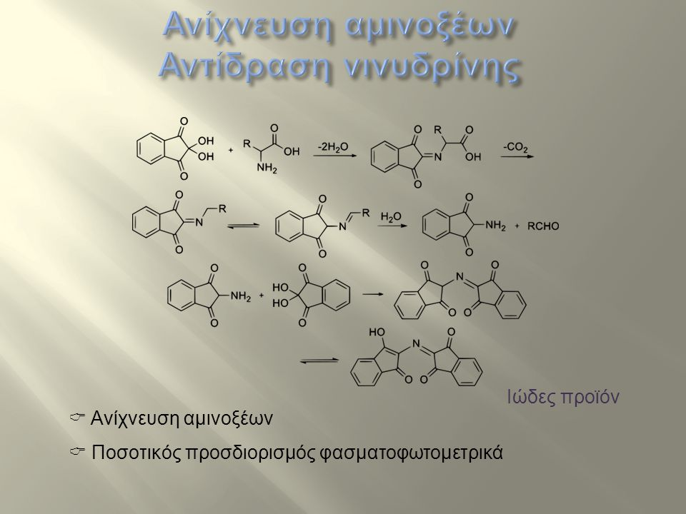 Ανίχνευση αμινοξέων Αντίδραση νινυδρίνης