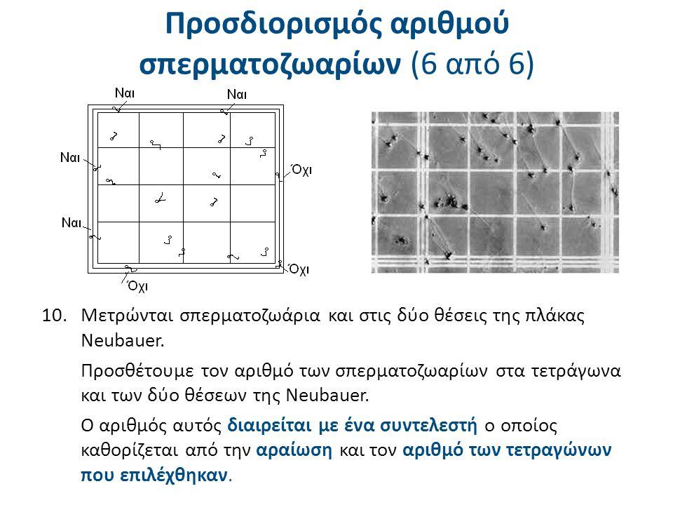 Πίνακας συντελεστών για υπολογισμό αριθμού σπερματοζωαρίων