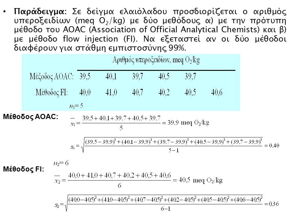 Παράδειγμα: Σε δείγμα ελαιόλαδου προσδιορίζεται ο αριθμός υπεροξειδίων (meq O2/kg) με δύο μεθόδους α) με την πρότυπη μέθοδο του AOAC (Association of Official Analytical Chemists) και β) με μέθοδο flow injection (FI). Να εξεταστεί αν οι δύο μέθοδοι διαφέρουν για στάθμη εμπιστοσύνης 99%.