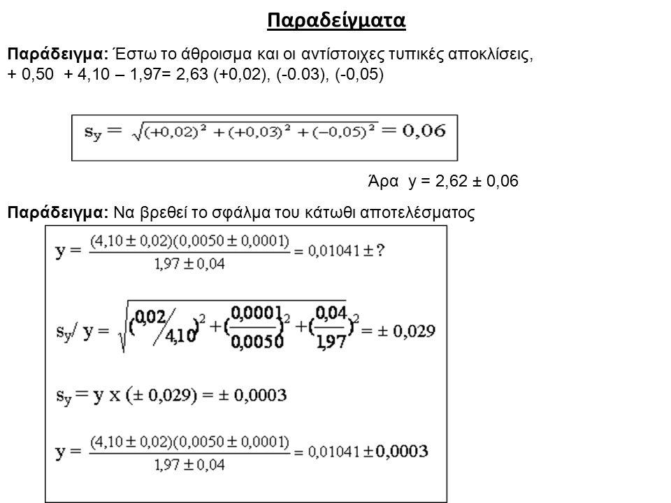 Παραδείγματα Παράδειγμα: Έστω το άθροισμα και οι αντίστοιχες τυπικές αποκλίσεις, + 0,50 + 4,10 – 1,97= 2,63 (+0,02), (-0.03), (-0,05)