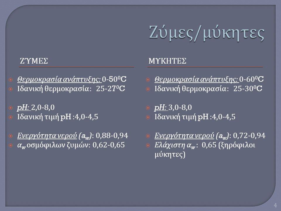 Ζύμες/μύκητες ΖύμεΣ ΜυκητεΣ Θερμοκρασία ανάπτυξης: 0-500C