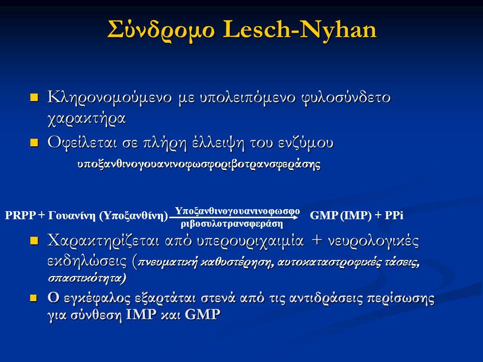 Σύνδρομο Lesch-Nyhan Κληρονομούμενο με υπολειπόμενο φυλοσύνδετο χαρακτήρα.