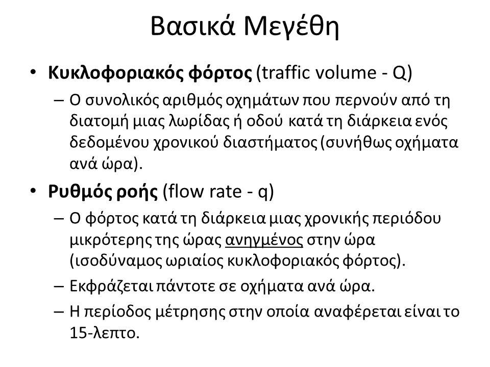 Βασικά Μεγέθη Κυκλοφοριακός φόρτος (traffic volume - Q)