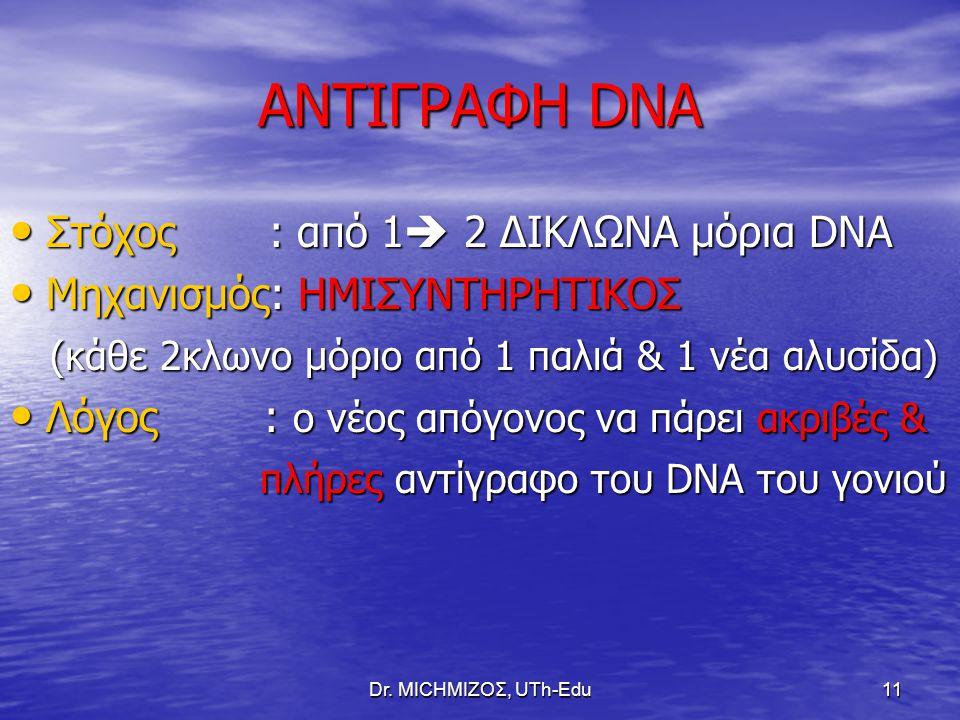 ΑΝΤΙΓΡΑΦΗ DNA Στόχος : από 1 2 ΔΙΚΛΩΝΑ μόρια DNA